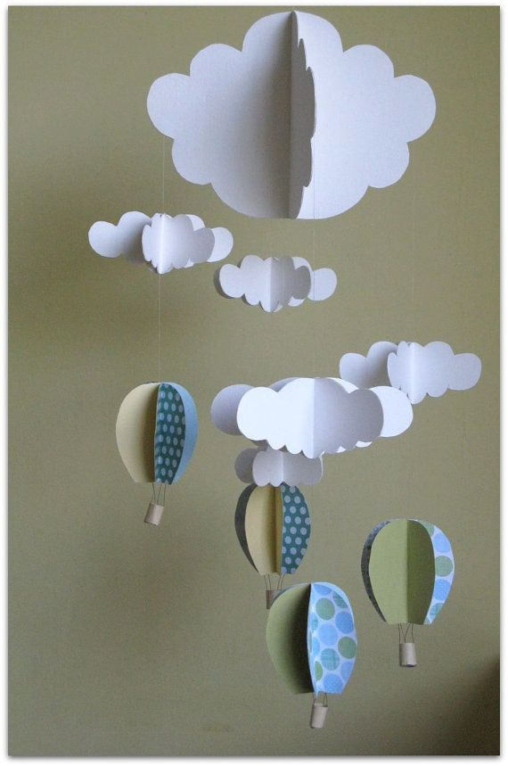 Baby boy mobile / air baloons and clouds by DreamsForSaleByTali