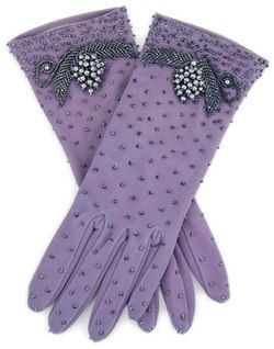 ~ Living a Beautiful Life ~ Purple beaded trim gloves with small pearl droplets throughout.