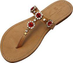 Christina Fragista sandals embellished with Swarovski crystals.