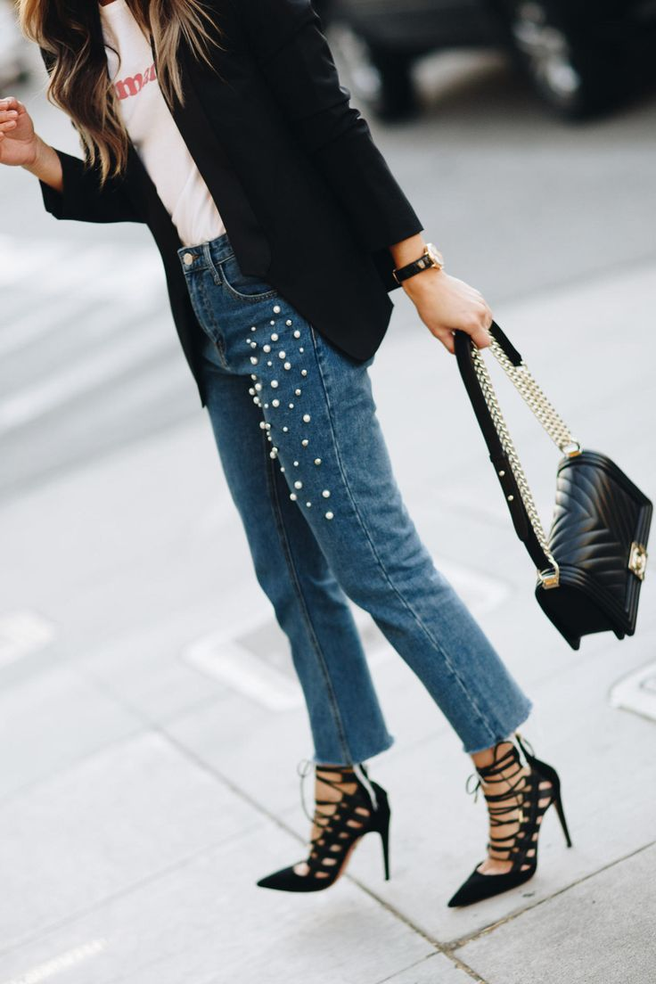 Storets Pearl Jeans, Sezane t-shirt, Black Blazer, Black Chanel Boy, Aquazzura Amazon Heels _ The Girl From Panama