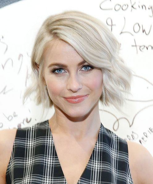 Julianne Hough with a wavy, cool blonde bob, shimmery eyeshadow and glossy coral lips on March 2.