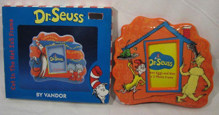 (Set of 2) Dr. Seuss Picture Frames - Cat in the Hat & Green Eggs & Ham Themed  #DrSeussEnterprises