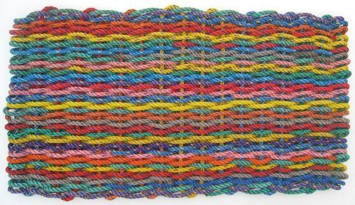 """Maine Float Rope Co. Doormat New England """"Rag Rug"""" - Bright - Medium (18"""" x 32"""") by The Maine Float-Rope Company. $79.95. Colorful and pleasing to the eye, our doormats add a cheerful and warm welcome.. Cleanup is a snap. Just shake the mat out or hose it down. It's quick drying too.. Resistant to mold and mildew, salt water and sun.. Handmade by local crafters in Maine. Each mat is one of a kind.. Recycled float-rope? - Float-rope is used by lobstermen to tether mult..."""