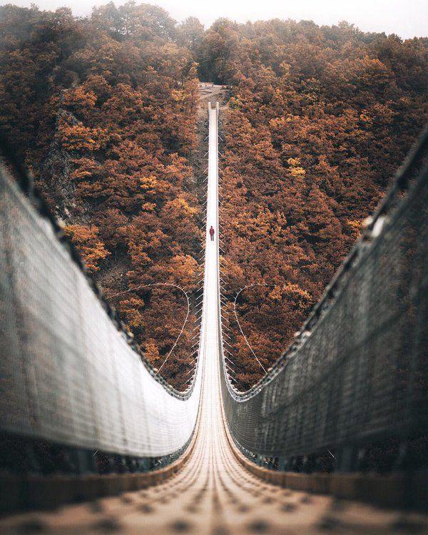 The Geierlay suspension bridge in Mörsdorf, Germany