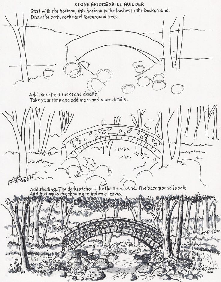 How to draw the arch bridge worksheet.