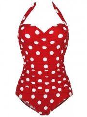 Polka Dot One Piece Swimsuits Vintage Swimwear For Women
