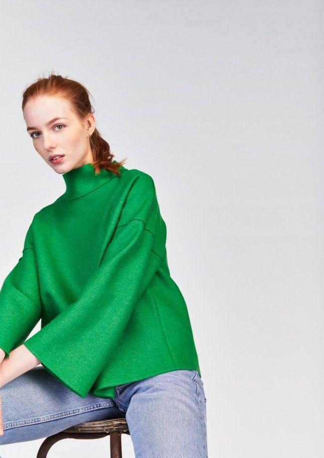 Top vert ample en laine vierge bouillie - femme - tara jarmon 3
