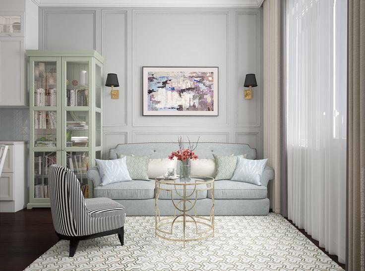 Гостевая зона в трехкомнатной квартире. Изящный журнальный столик и классические настенные бра.