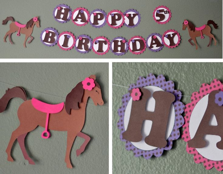 Pony Birthday Supplies,  Horse Birthday Party Supplies - Banner 2-D - CUSTOM Message (20 letters). $25.00, via Etsy.