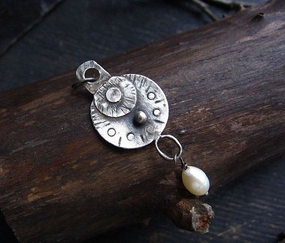 Sterling silver pendant, pearl pendant, rustic pendant, minimalist pendant, round pendant, gift for her, everyday necklace