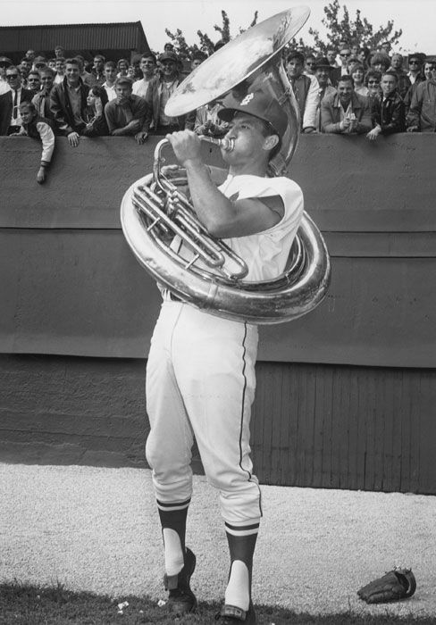 Bob Uecker playing the sousaphone; 1964 World Series, prior to game 1.