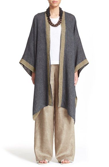eskandar Reversible Two-Tone Linen Blend Coat at Nordstrom.com. Sloped shoulders, wide-cut three-quarter sleeves and a relaxed, drapey silhouette define a reversible linen-gauze coat inspired by the clean, elegant lines of traditional Asian clothing.