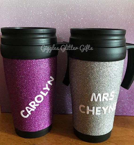 personslised glitter travel mugs