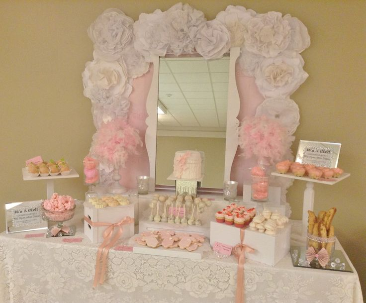 pink baby shower pink dessert table pink sweets table