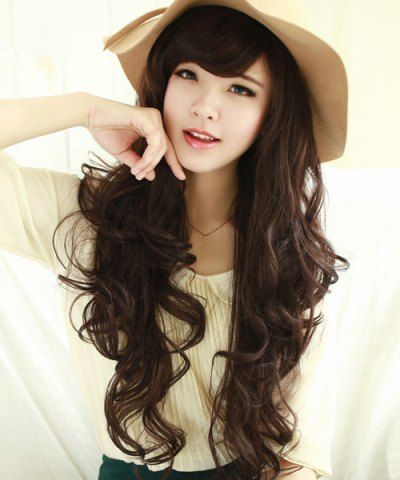 Fashion Fluffy Side Bang Long Wavy Ladylike Chestnut Brown Synthetic Wig For Women