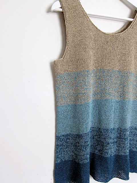 Love this approach for an ombre effect in a summery or spring tank. Ombre Tank pattern designed by Mona Schmidt for Espace Tricot. Free pattern on Ravelry