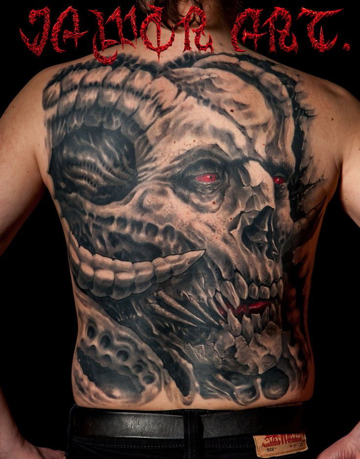 skull#tattoo#evil#jawor art.devil