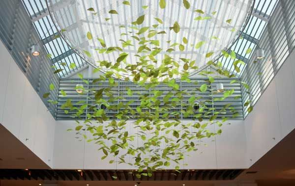 Shimmering leaf canopy sculpture | public art for Doha Festival City, Qatar