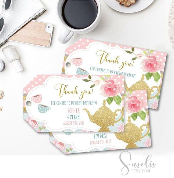 Personalized Thank you Tags Birthday Tea Party 2x35 inch