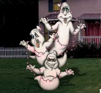 Ghostly Trio Woodcrafting Pattern Treat your halloween guests to this incredible yard display. #diy #woodcraftpatterns