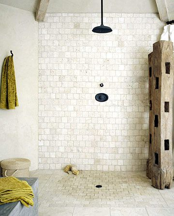 Stone Tile Shower: My husband would go nuts for this! This could be the perfect solution to our full guest bath. We want something elegant, but rustic. We could do this ourselves!