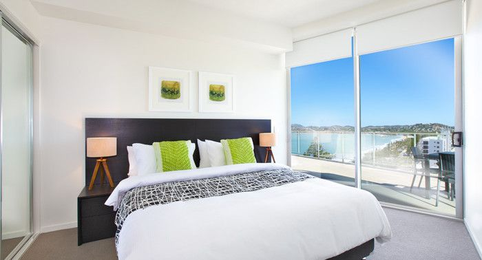 """Oshen Yeppoon - Fit-out by PPS.  Bed Runner 'Fiddlesticks"""" Dalmatian by HotelHome Australia."""