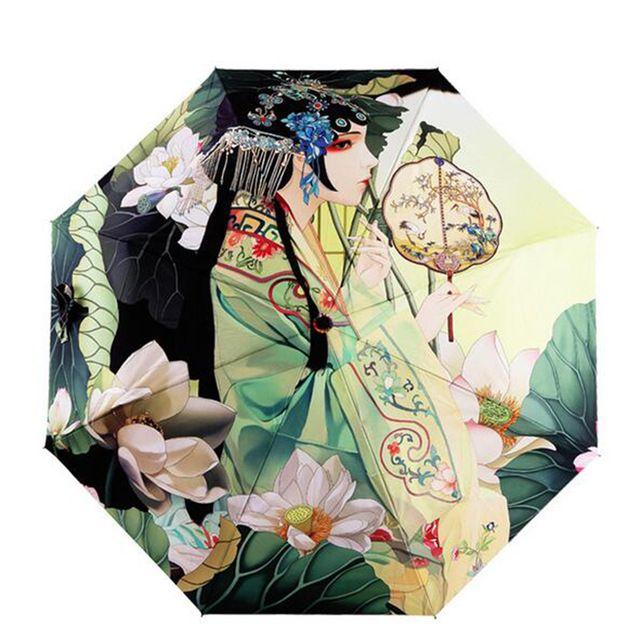 Hot sale sun umbrella chinese style oil painting folding umbrellas rain women high quality parasol windproof  free shipping
