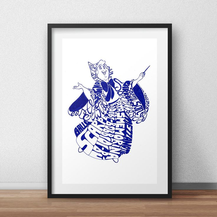 Fairy Godmother: poster download, customized poster, printable poster, character fairy tale, blue inkpen, handmade poster, baby girl poster di dizetashop su Etsy