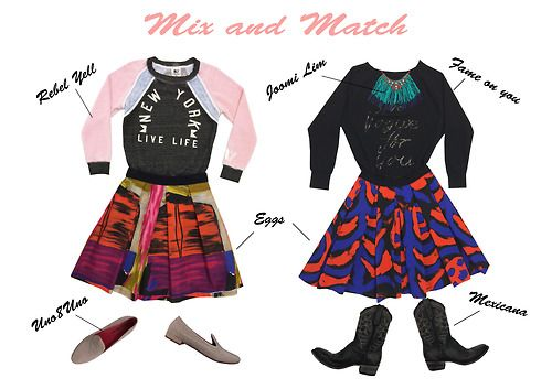 Sweater Rebell Yell, Skirt Eggs, Shoes Uno8Uno, Sweater Fame on You, Necklace Joomi Lim, Skirt Eggs, Boots Mexicana