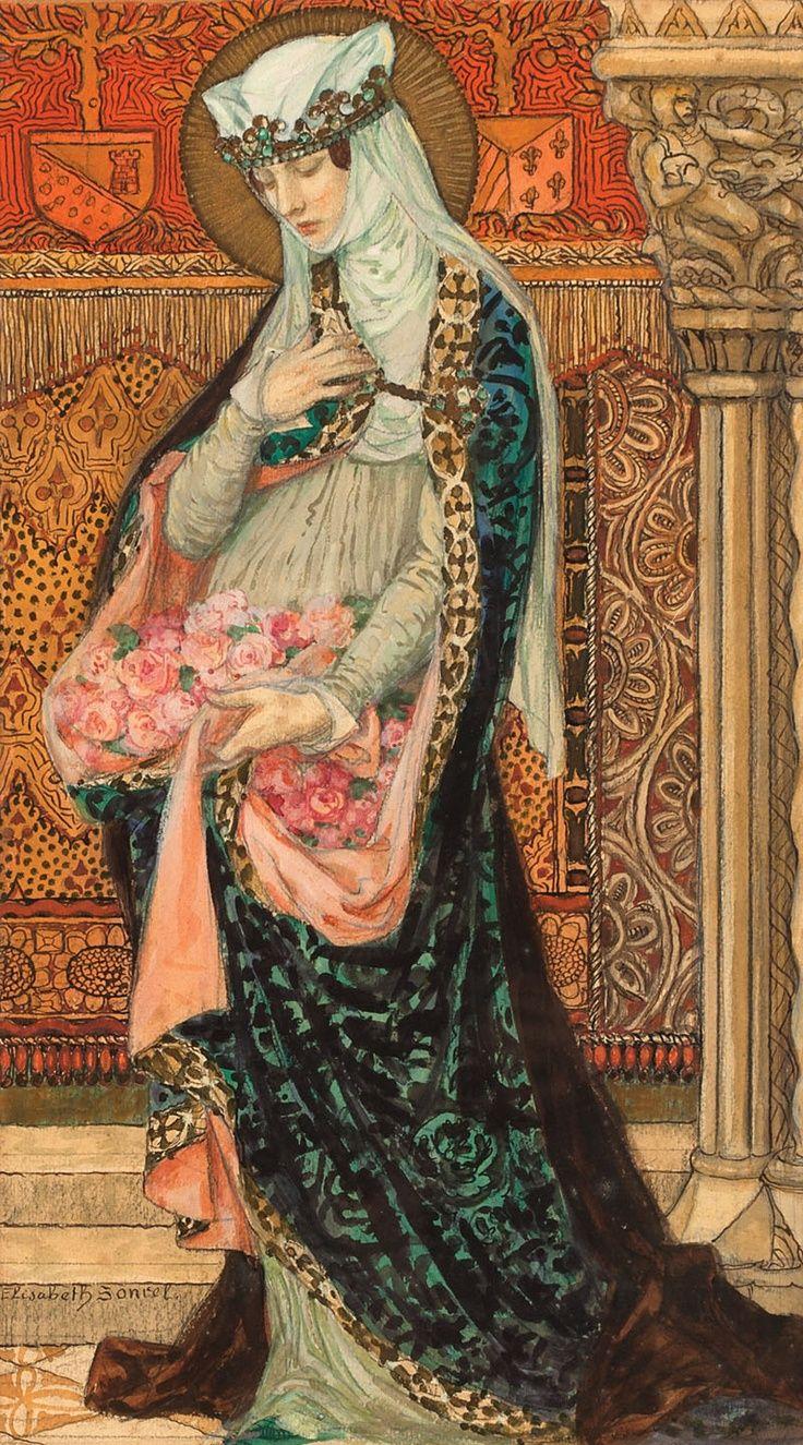 Elisabeth Sonrel (1874-1953 French) :: Portrait of a Renaissance woman holding roses