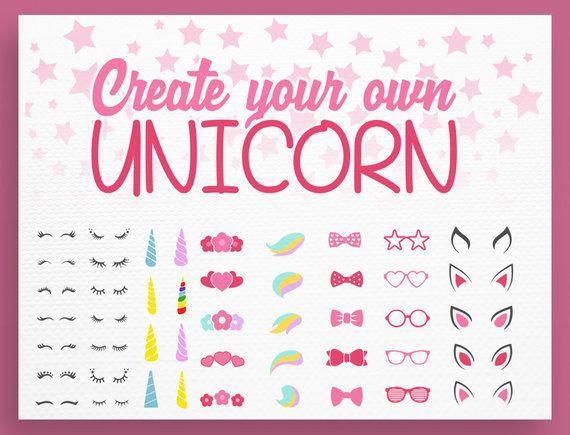 Unicorn svg - Unicorn Kit Svg - Create your own - Lashes Svg
