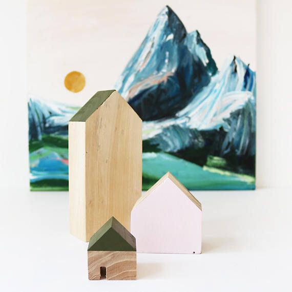 FIVEOEIGHT CO Set of 3 Wooden Houses, Natural wood, pink and green paint, eco home decor, Scandi Christmas decor, modern, mantel decor, wood blocks