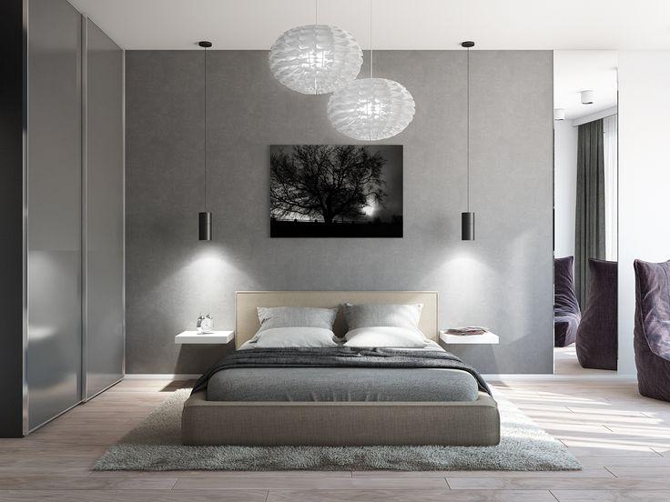 Интерьер спальни в спокойных серых тонах