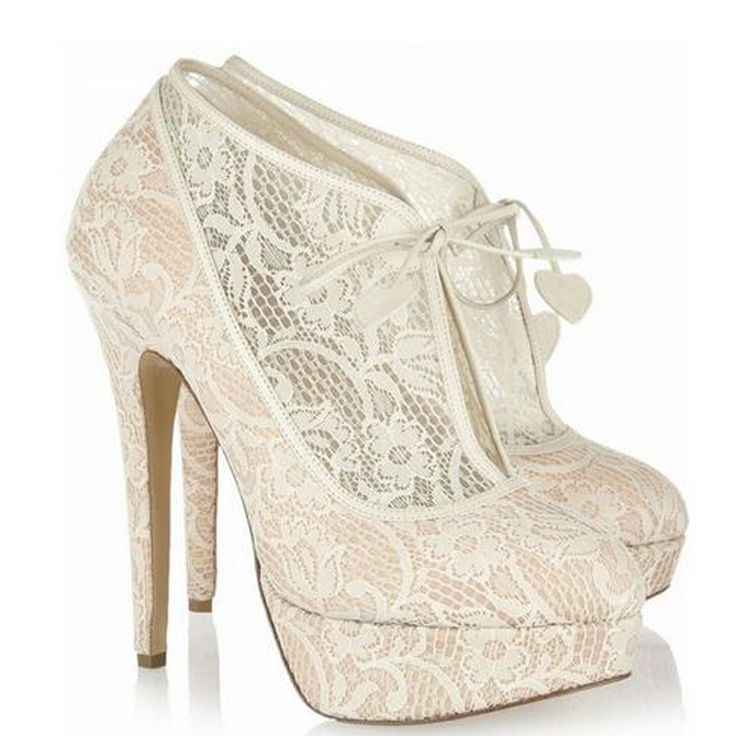==> [Free Shipping] Buy Best Nice Women Thin High Heels Heart Lace Up Short Boots Ladies Elgant Beige Floral Lace Platform Ankle Booties Bridal Wedding Shoes Online with LOWEST Price | 32809759461