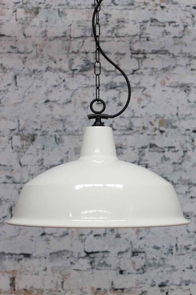 Industrial Warehouse Pendant Light with white shade and chain suspension cord ideal for kitchen island lighting or bedroom lighting