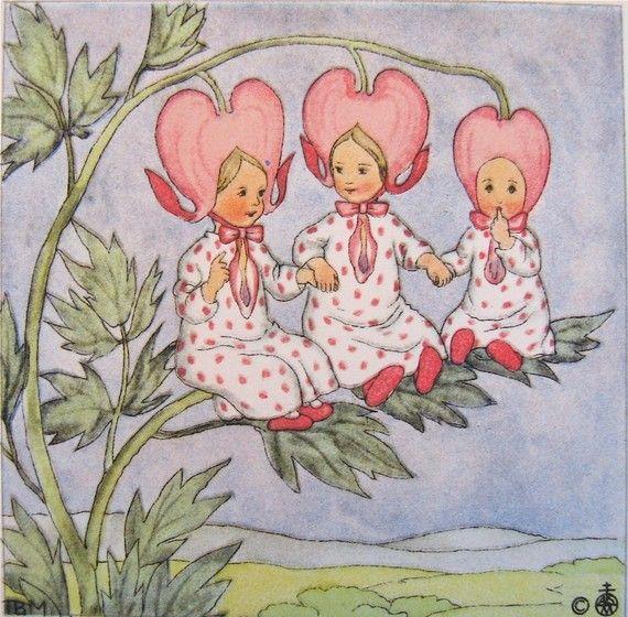 vintage illustration 3 bleeding hearts ida bohatta vintage prints RARE flower children pink spring blossoms
