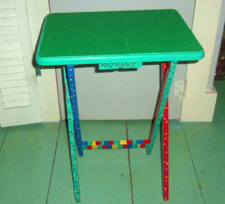 TV Tray Table With Lego Building Plates Glued To The Top