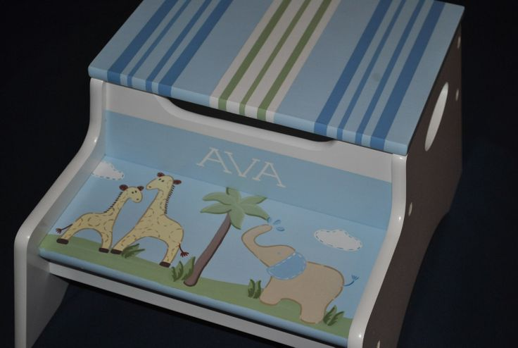 Kids Personalized 2 Step Stool and Storage Bench  PB by onmyown14, $69.95
