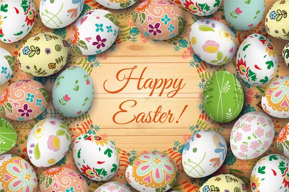 Easter card and eggs by Ulafant on Creative Market