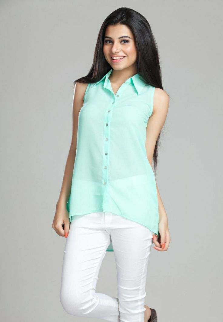 Women 's Apparels of latest collection & BASIC COL ASSYMETRICAL HEM WITH MOP BUTTONS in India georgette ,cotton , Black printed Shirts ,top with black denims to get endless compliments Guys Hurry up for this Summer deal  for For more info visit on http://itibeyou.com/Shirts.html.