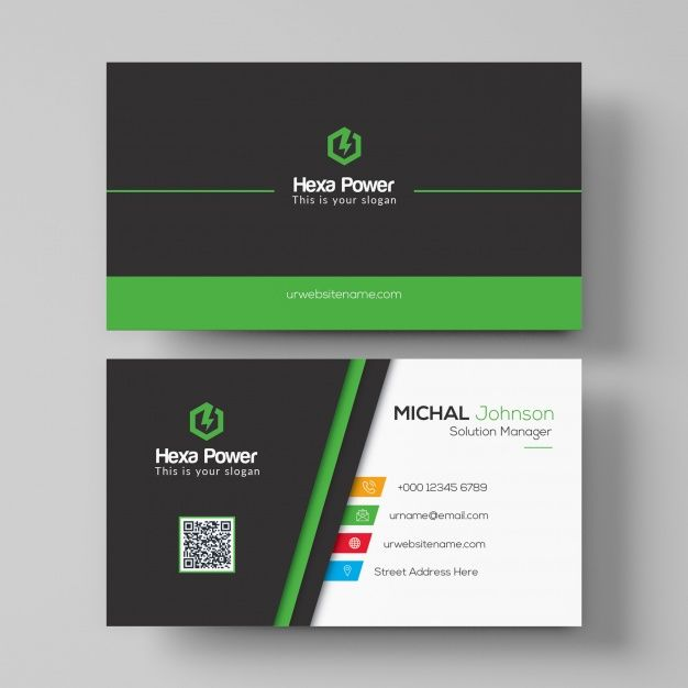 Black And Green Business Card Mockup Business Card Mock Up Business Card Psd Colorful Business Card
