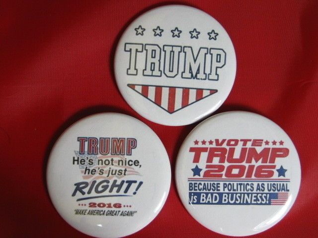 Vote Donald Trump Republican President  Pack-3 pinback buttons- Variety 2.25