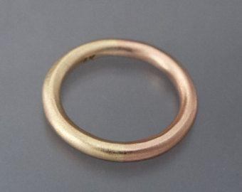 Venda de boda de ronda mixta 14k amarillo, rosa o blanco oro - anillo de boda de asociación 50/50, elección de 1,3 mm a 2,5 mm de ancho