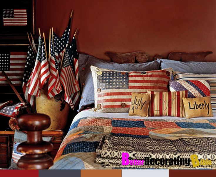 Decorating With American Country Antiques   House Tour   Country Living  Love This Americana Bedroom!