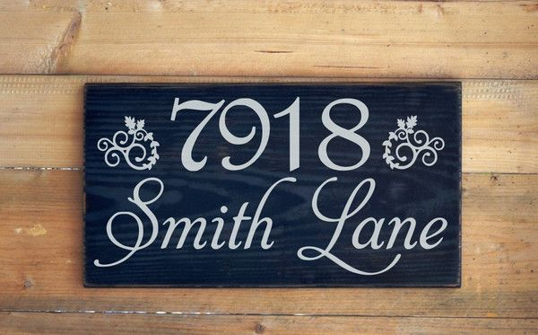 PAINTED Custom Outdoor House Address Sign Personalized Home Street Name Numbers Wood Plaque New Home Wedding Housewarming Gift Ideas Rustic Decor