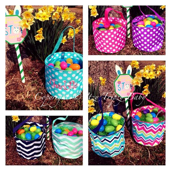 Kids Monogrammed Easter Basket. Personalized. by ItzyTripzyBaby