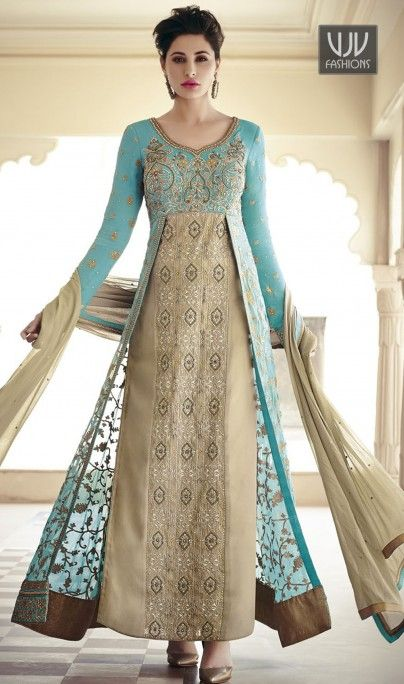 34uSOl Nargis Fakhri Turquoise Resham Work Salwar Kameez Appear stunningly gorgeous with this turquoise net anarkali salwar kameez. This attire is beautifully adorned with resham and stone work. Comes with matching bottom and dupatta Product No VJV-NARG7325 @ www.vjvfashions.com