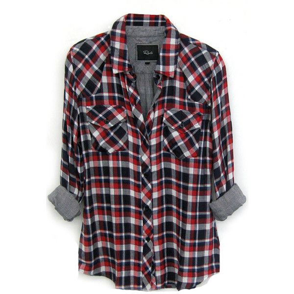 Rails Kendra Tencel Plaid Shirt in Cherry/Navy/White found on Polyvore