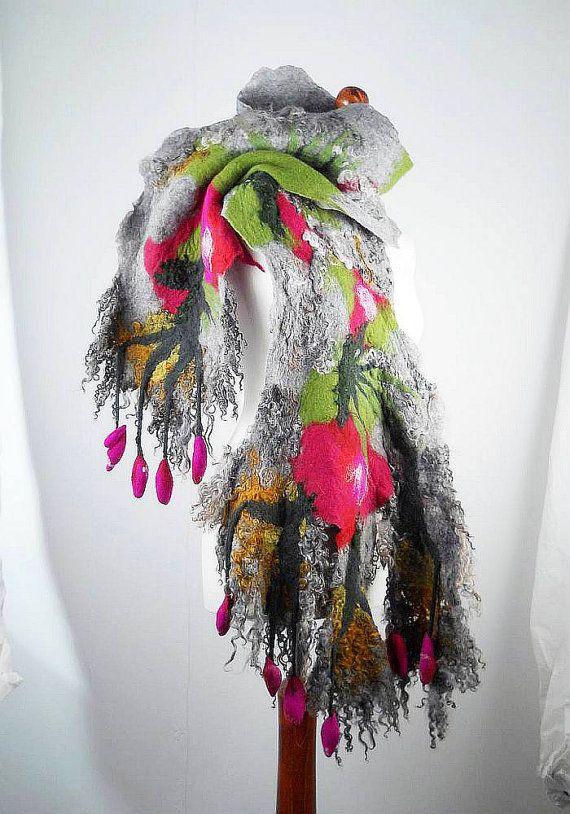 Large Felted Scarf Wrap Scarve Felt Nunofelt Nuno felt Silk Silkyfelted Eco shawl Boho Fiber Art