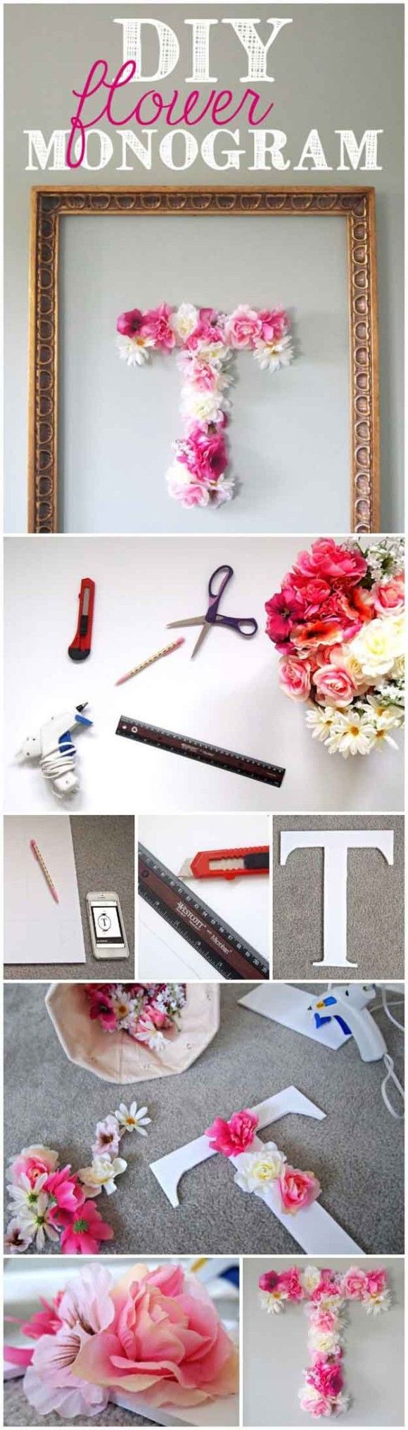 Cute DIY Room Decor Ideas for Teens - DIY Bedroom Projects for Teenagers - DIY Flower Monogram Craft